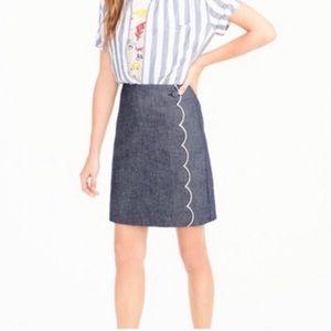 Jcrew chambray scalloped skirt